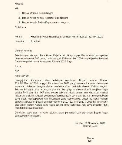 Beredar Luas Surat Ajakan Menggalang Pns Pemkab Jember Untuk Membangkang Pelaksanaan Rekomendasi Mendagri