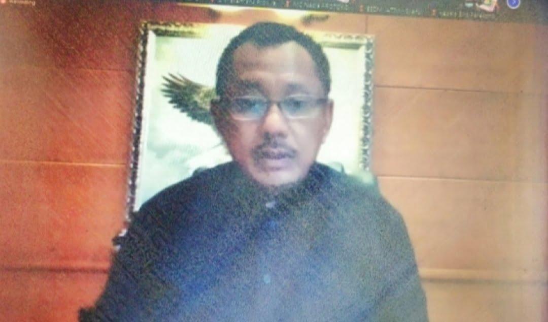 Plh Sekretaris Daerah (Sekda) Prov Jawa Timur Heru Tjahjono dalam arahannya saat memimpin Rakor TPID 2021 secara daring